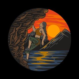 Grimpeur femelle d'escalade essayant de rester sur un rocher difficile