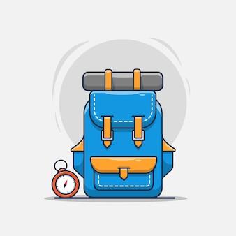 Grimpeur de sac à dos avec illustration d'icône de boussole