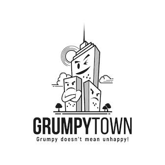 Grincheux ville logo inspiration bâtiment ville dessin animé mignon vecteur district