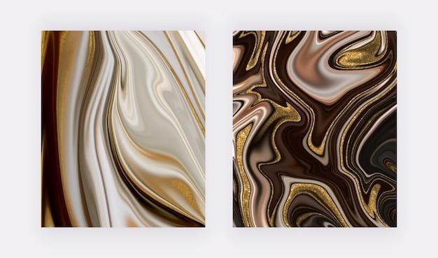Gris noir avec des arrière-plans en marbre liquide à paillettes dorées