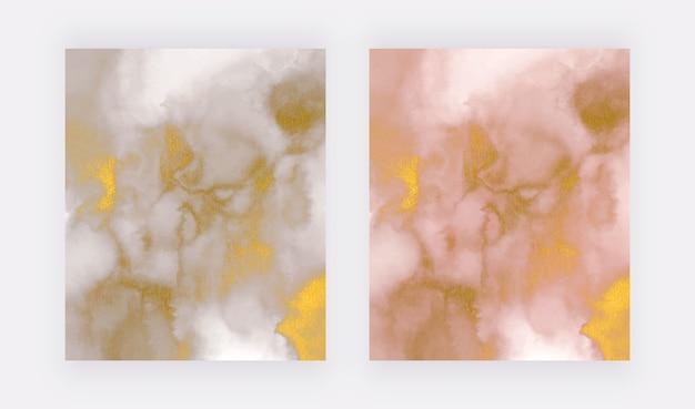 Gris et rose avec texture de marbre de paillettes d'or