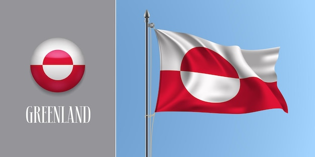 Le groenland agitant le drapeau sur le mât et l'illustration vectorielle de l'icône ronde. maquette 3d réaliste avec la conception du drapeau groenlandais et du bouton cercle