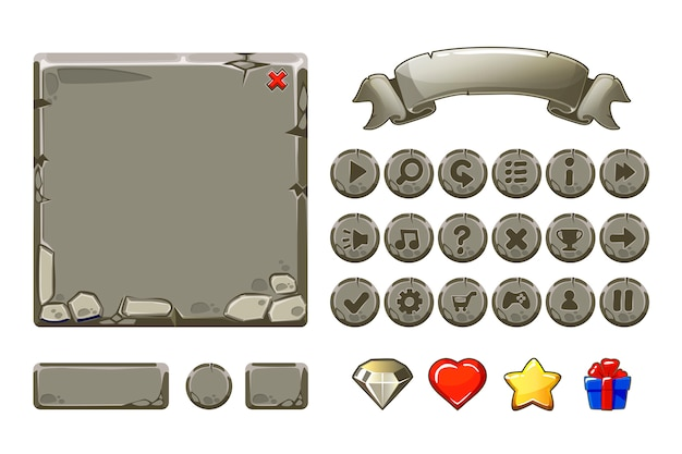 Gros atouts et boutons en pierre grise de dessin animé pour le jeu ui, icônes gui