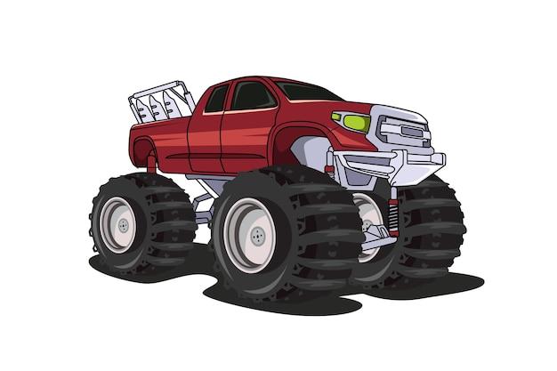 Gros camion monstres dessin à la main illustration dessin à la main