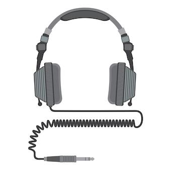 Gros casque dj avec cordon spiralé et connecteur jack