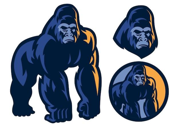 Gros corps musculaire de mascotte de gorille