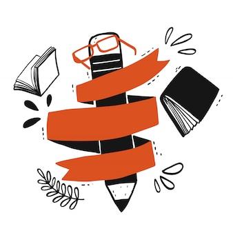 Un gros crayon avec le ruban orange qui peut remplir le texte.