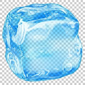 Un gros cube de glace translucide réaliste de couleur bleu clair sur transparent