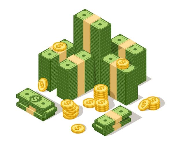 De gros dollars empilent de l'argent en espèces et des pièces de monnaie américaine en dollars verts empilent la devise usd isométrique