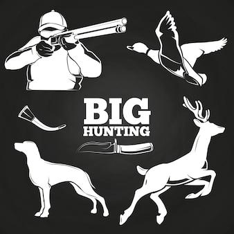 Gros éléments de chasse sur tableau noir