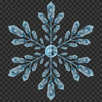 Gros flocon de cristal translucide dans des couleurs bleu clair sur transparent