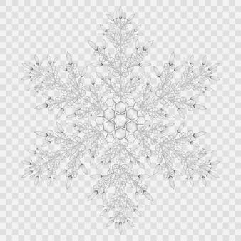 Gros flocon de neige en cristal translucide aux couleurs grises sur fond transparent. transparence uniquement en fichier vectoriel