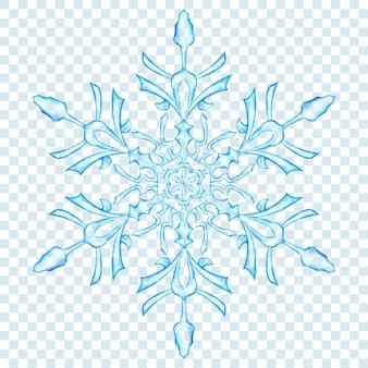 Gros flocon de neige de noël translucide dans des couleurs bleu clair sur fond transparent