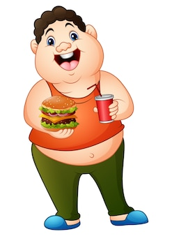 Gros gros dessin animé, tenue, a, hamburger, à, boire, soda