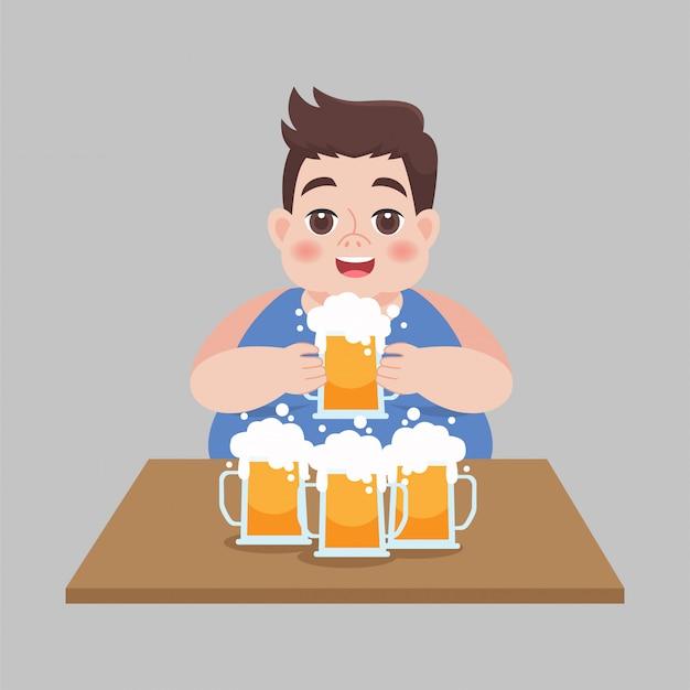 Gros gros homme buvant une chope de bière, concept de soins de santé.