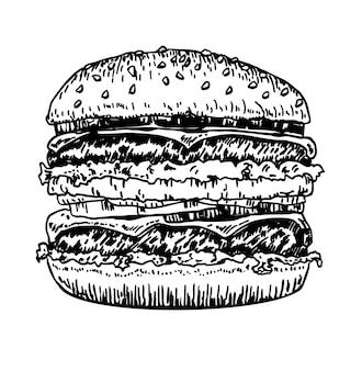 Gros hamburger hamburger main dessin dessin vectoriel croquis style rétro hamburger dessiné à la main fast food