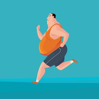 Gros homme jogging