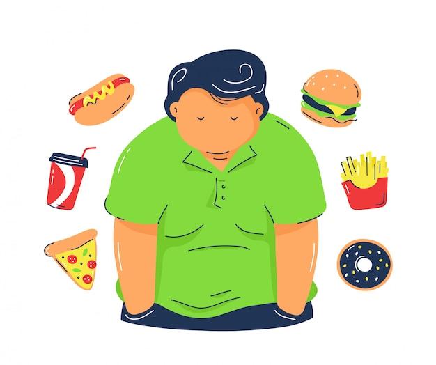 Gros homme obésité avec des produits de restauration rapide. branché, ligne plate, illustration., isolé, blanc, arrière-plan., malsain, malbouffe, concept