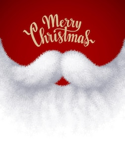 Gros plan barbe blanche de santa avec lettrage joyeux noël. eps8. couleurs globales rvb