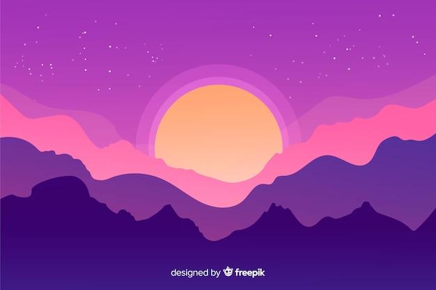 Gros plan, coucher soleil, montagnes