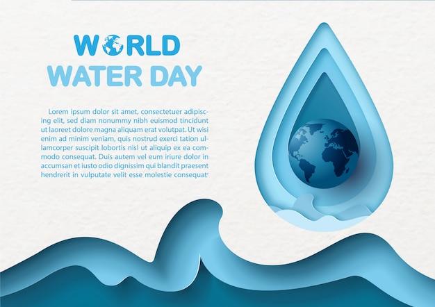 Gros plan du globe bleu sur une goutte d'eau géante et une vague de mer bleue abstraite dans un style de papier découpé avec le libellé de la journée mondiale de l'eau, des exemples de textes sur fond de papier blanc