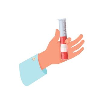 Gros plan du tube de verre avec du sang