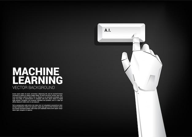 Gros plan, main, robot, toucher, ai, clavier, ordinateur