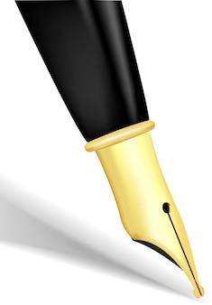 Gros plan d'une plume en or d'un stylo plume