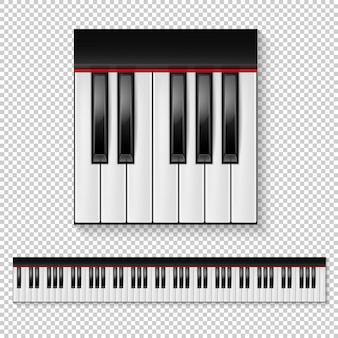 Gros plan de touches de piano réaliste isolé et jeu d'icônes de clavier isolé sur fond transparent.