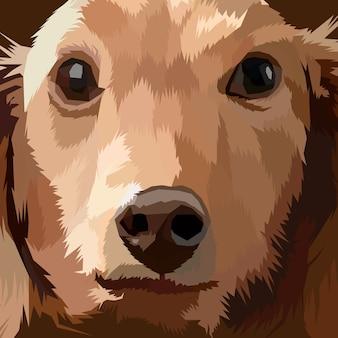 Gros plan visage chien pop art portrait premium