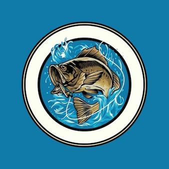 Gros poisson pour la pêche sport logo