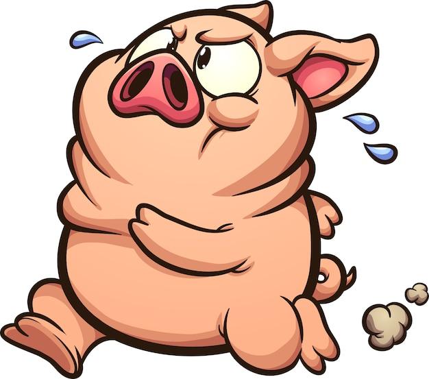 Gros porc en cours d'exécution