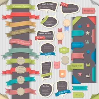 Gros set éléments de design rétro et phylactères