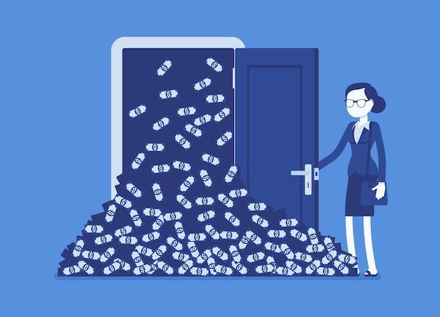 Gros tas d'argent et femme d'affaires d'avalanche d'argent