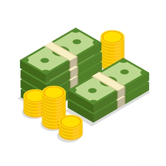 Gros tas de dollars empilés d'argent et de pièces d'or dans un style isométrique branché. illustration isolée sur fond blanc.