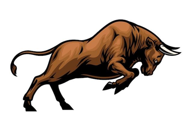 Gros taureau musculaire agressif attaquant
