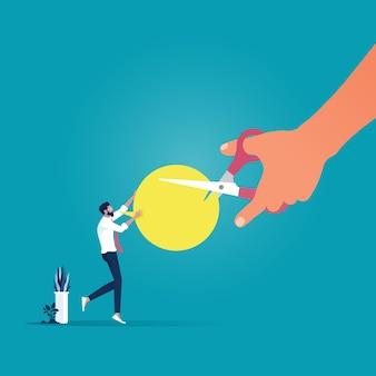 Grosse main avec des ciseaux couper la métaphore de message de bulle de discours de communication ratée