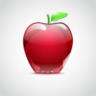 Grosse pomme rouge en verre avec ombre sur fond dégradé