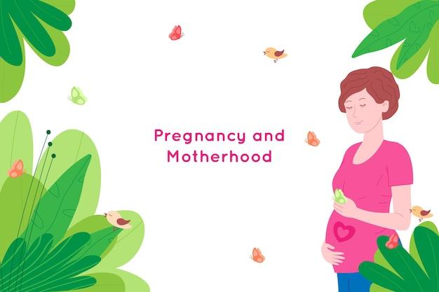 Grossesse, bannière de concept de maternité. enceinte et heureuse belle jeune femme tient son ventre, qui représente un cœur comme symbole d'un bébé dans l'utérus. illustration vectorielle de dessin animé plat.