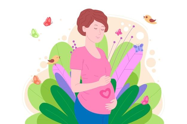 Grossesse, concept de maternité. enceinte et heureuse belle jeune femme tient son ventre, qui représente un cœur comme symbole d'un bébé dans l'utérus. illustration vectorielle de dessin animé plat.