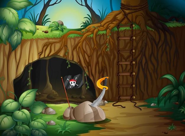 Une grotte secrète dans les bois