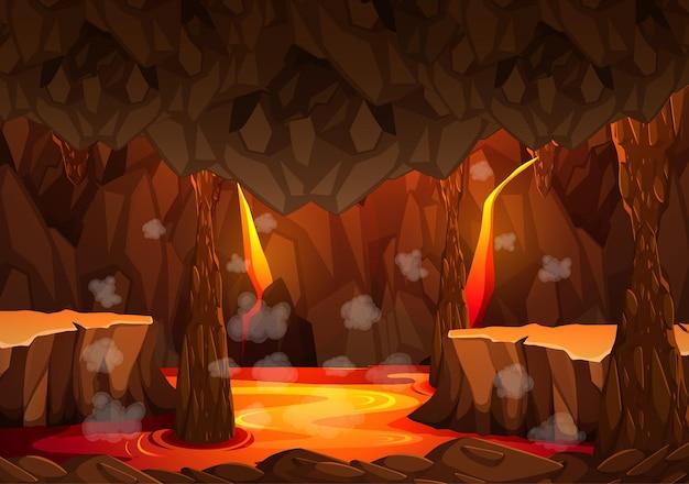 Grotte sombre infernale avec scène de lave