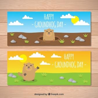 Groundhog bannières jour
