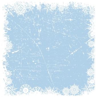 Grounge flocons de neige sur fond glacé cadre