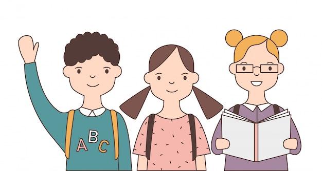Groupe d'adorables enfants souriants ou élève isolé sur fond blanc. joyeux écoliers drôles, mignons camarades de classe heureux ou amis.