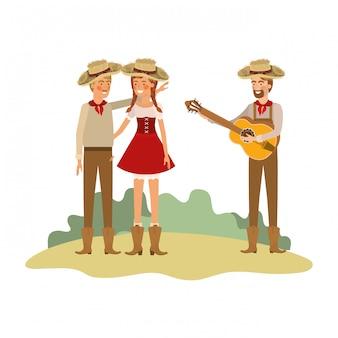 Groupe d'agriculteurs avec des instruments de musique