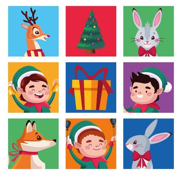 Groupe d'aides de santa avec illustration de personnages animaux