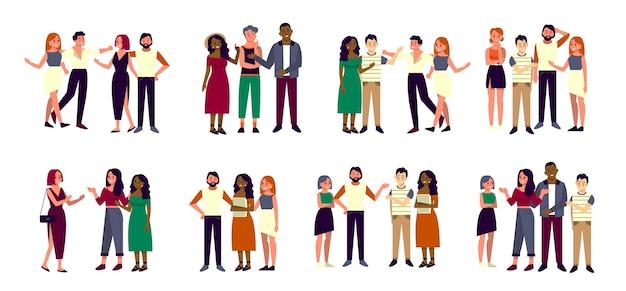Groupe d'ami heureux de race et de sexe différents. les jeunes amis se tiennent ensemble. idée d'amitié et de paix.