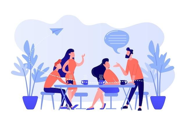 Groupe d'amis assis à la table à parler, à boire du café et du thé, des gens minuscules. réunion d'amis, remonter le moral, concept de soutien d'amitié. illustration isolée de bleu corail rose