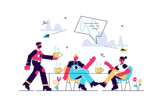 Groupe d'amis assis à la table à parler, à boire du café et du thé, des gens minuscules. réunion d'amis, remonter le moral, concept de soutien d'amitié. illustration isolée violette vibrante lumineuse